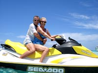 Couple on the Waverunners at Stingray City